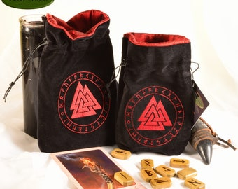 Valknut - All Natural Cotton Velvet and Silk Tarot, Oracle, or Crystal bag