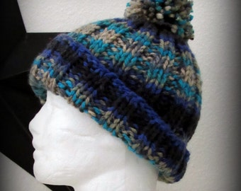 Hand knit hat - knit hat - pom pom knit hat - blue knit hat - hat - striped knit hat - knit beanie - knit acrylic hat - pom pom hat
