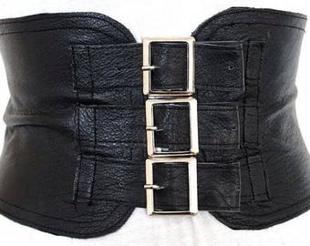 Black Corset Leather Three Buckle Silver Buckle Belt | Black Wide Waist Belt | Corset Wide Belt | Leather Buckle Belt | steampunk
