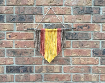 Wool Yarn Wall Hanging // Small // Brown, Yellow, Salmon