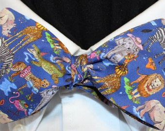 JUNGLE POOL PARTY Bow Tie: Liberty of London cotton, self tie, handmade in your size, for well-dressed men and women and jungle animals
