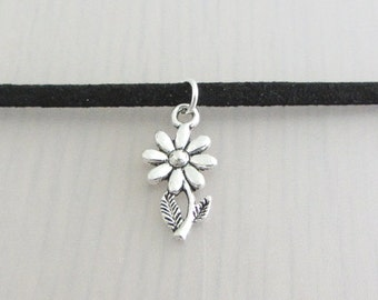 Silver Daisy Flower Charm Black Faux Suede Choker Necklace, 3mm Width Black Faux Suede Choker Necklace, Daisy Charm Necklace, Flower Choker