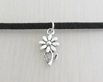 Custom Color Silver Daisy Flower Charm Faux Suede Choker Necklace, 3mm Width Faux Suede Choker Necklace, Daisy Charm Necklace, Flower Choker