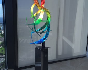 "Contemporary Abstract Metal Indoor Outdoor Sculpture Large Rainbow ""Tempest"" by Dustin Miller"