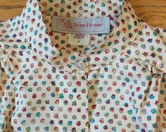 Vintage Evan Picone Button Up Amazing Print Mandarin Collar