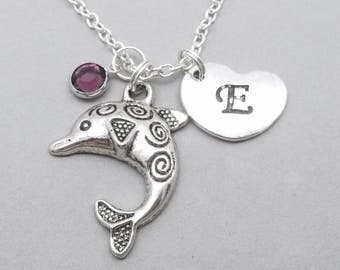 Dolphin heart necklace | dolphin charm necklace | dolphin pendant | personalised dolphin necklace | dolphin jewelry | initial letter