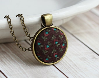 Brown Retro Necklace, Boho, Teal Floral Fabric Jewelry, Cute Necklace, Small Pendant, Hippie Jewelry, Vintage Recycled Jewelry, Tiny, Mini