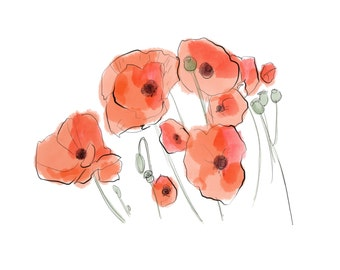 poppies digital, downloadable print, watercolor and ink poppies, red poppies JPEG