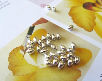 Silver Melon Spacer, 3mm x 5mm, Football Bead, Oval, Shiny, Plated Melon Beads, 250 Pcs