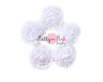 White MINI Isabella Collection Ruffled Rosettes- You Choose Quantity- Rolled Rosettes- Rolled Rosettes- Rosettes- Flower- Supply DIY