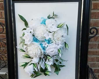 Do it yourself kit for a large cardstock paper flowerwall framed wedding bouquet replicapaper anniversary crepe paper flowers wall decorforever keepsake solutioingenieria Image collections