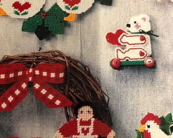 APRILSALE Vintage, 1988, Country Christmas, in Plastic Canvass, American School of Needlework, by Darla J. Fenton 3056