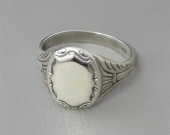 Antique Edwardian SIGNET Ring, SOLID Silver 830 European, Mens Womens Signet Rings Size 9 1/2, BLANK Engravable Crest