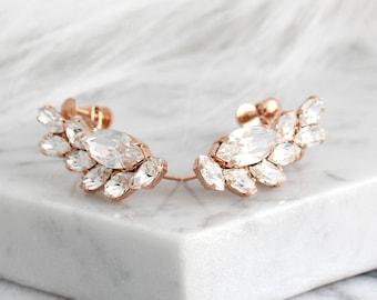 Climbing Earrings, Bridal Earrings, Rose Gold Climbing Earrings, Swarovski Crystal Earrings, Crwaler Earrings, Clear Crystal Bridal Earrings