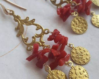 Coral and silver earrings, coin earrings, dangling earrings