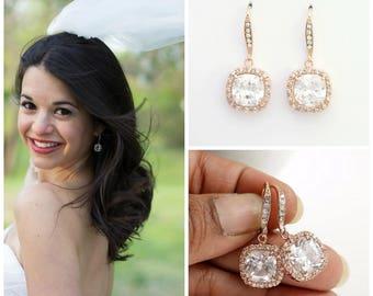 Rose Gold Wedding Earrings, Square Bridal Earrings, Cushion Cut Earrings, CZ Drop Earrings, Crystal Dangle Earrings, Wedding Jewelry, Riley
