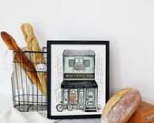 Boulangerie - Bakery - French Scene - Illustration - Spring Decor - Art Print - Cafe - Hand Drawn - France