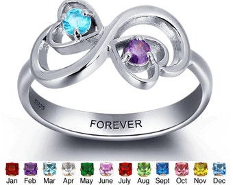 Sterling Silver Birthstone Personalized Best Friends Promise Engraved Unique Ring