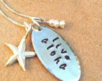 Live Aloha Necklace ,Hawaiian necklace, aloha necklace, Aloha, Hawaiian gifts, personalized gifts, natashaaloha,