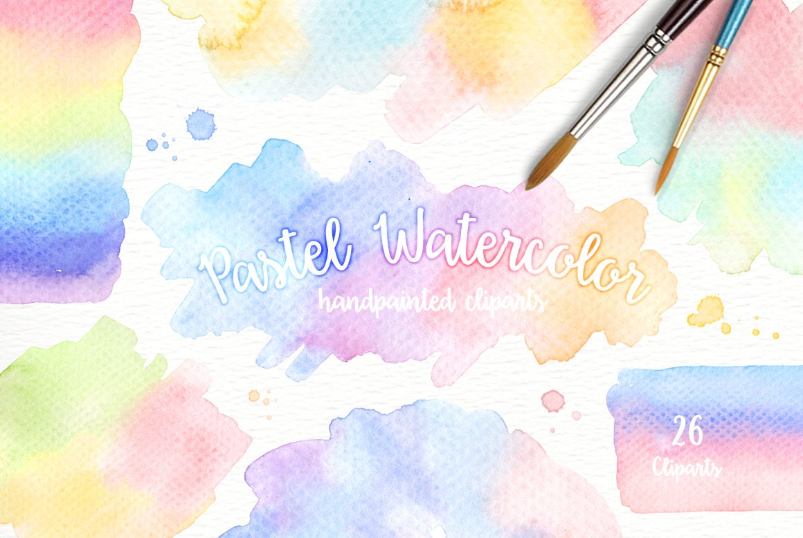 Pastel Watercolor Splashes Clipart Hand Painted Brush