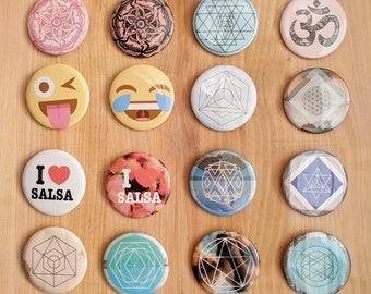 "2.5"" Pinback Buttons - sacred geometry, om, geometric, emoji, salsa, tacos, love, merkaba, metatrons cube, sri yantra, pentagram"