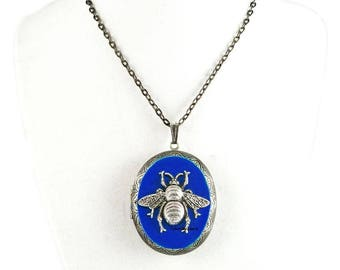Bee Pill Box Necklace Inlaid in Hand Painted Cobalt Blue Enamel Antique Silver Oval Locket Necklace with Color and Personalized Options