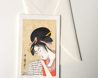 Card and envelope, pattern Japanese traditional UKIYOE UTAMARO BIJINNGA (F1321)