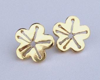 Cherry blossom post earrings in gold