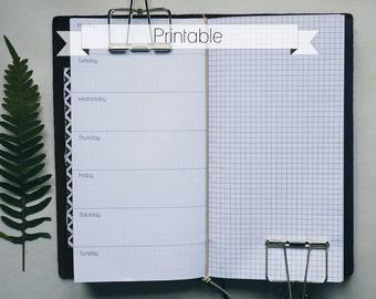 Weekly grid insert for Traveler's Notebook regular - PRINTABLE