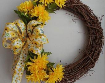 A Yellow Dahlia Grapevine Wreath