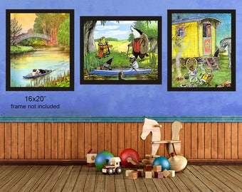 Wind in the Willows Print - Nursery Decor - Wind in the Willows Art - Discount Set of Three - Nursery Art #vi427