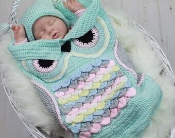 CROCHET PATTERN For Owl Baby Cocoon, Papoose & Hat in 3 Sizes U.K, U.S.A, Deutsch, Francais, Dutch,  PDF 245 Digital Download