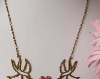 Bronze swallow charm statement necklace,rose detail