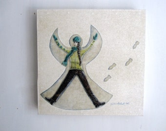 Snow Angel, winter white snowfall cold,  sale clearance, Original Fabric on Wood art block