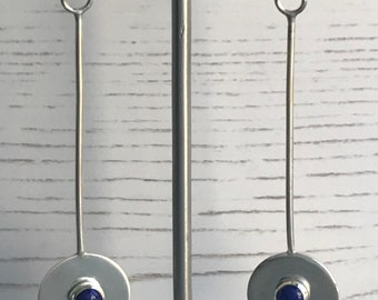 Handmade Sterling Silver and Lapis circle drop earrings, Lapis drop earrings