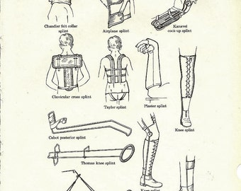 Human Anatomy Vintage Medical Anatomy Illustrations of Splints to Frame or for Collage, Scrapbooking, Paper Arts & Mixed Media PSS 0165