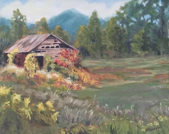 Original Rustic Mountain Barn Acrylic Landscape Painting 16 x 20