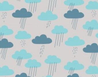 Raincloud Fabric   Cute Rain Fabric   Light Gray   Cloud9 Organic Fabric   Raindrops   Blue   Baby Fabric