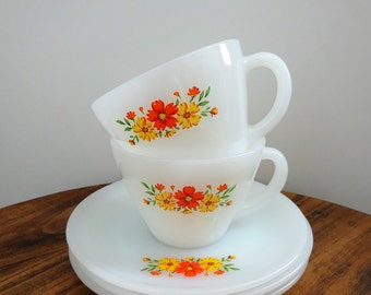Fire King Milk Glass Orange & Yellow Floral Teacup and Saucer Set - Vintage Fire King