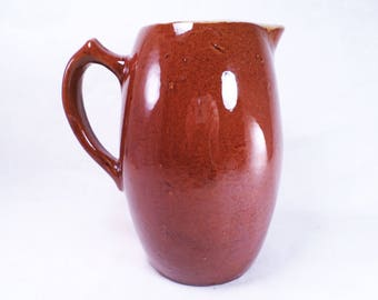 Brown Molded Stoneware Crockery Tall Pitcher Vintage 30s