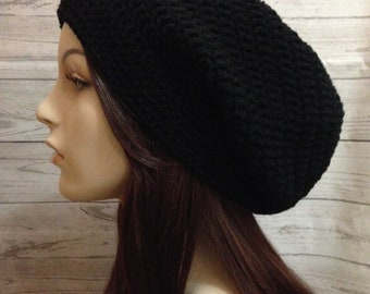 Black Crochet Hat / Black Slouchy Beanie / Womens Crochet Slouchy / Black Crochet Slouchy Hat / Boho Slouchy Hat / Womens Accessories
