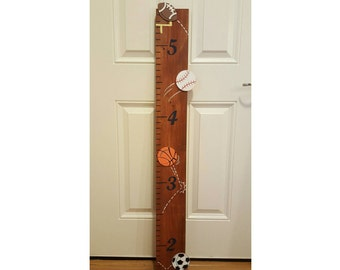Sports Growth Chart, Nursery Decor, Sports Themed Ruler, Handpainted Wooden Growth Chart, All Star Wall Decor