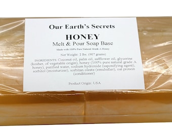 Honey - 2 Lbs Melt and Pour Soap Base - Our Earth's Secrets
