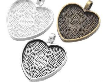 10Pcs 25mm Heart Bezel Tray Kits , Heart Pendant Trays,Diy Blank Bezel Pendant Tray
