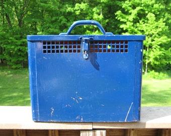 Blue Painted Metal Utility Box