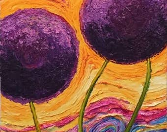 Purple Aliums  24x60 Original Impasto Oil Painting by Paris Wyatt Llanso