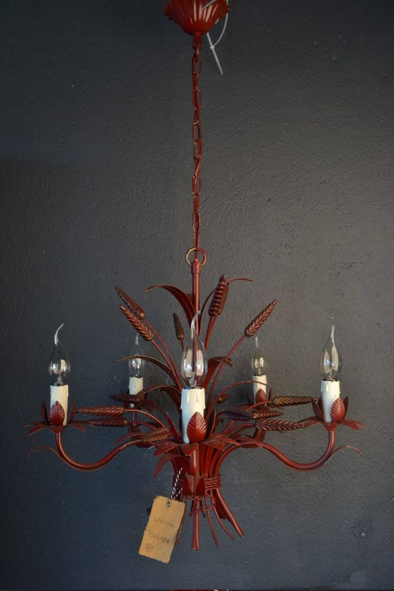 Red Tole chandelier with sheaves of wheat