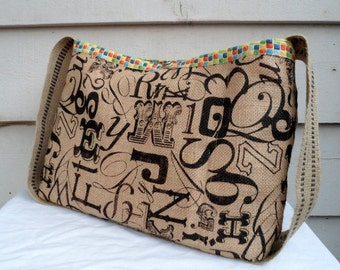 Quirky Printed Burlap Knitting, Crochet or Messenger Bag - Cross Body Large Bag with Pockets Tote Bag for the Commuting Knitter