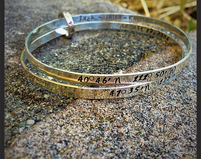 Double Solid Sterling Silver light bangles with Connector - Hand Forged and Fully Customizable - Choice of Fonts and FInishes - Your Message