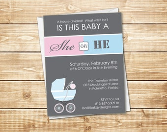 """PRINTED Pink and Blue 4.25"""" x 5.5"""" Gender Reveal Baby Shower Invitation in gray with a baby pram; white envelope included"""